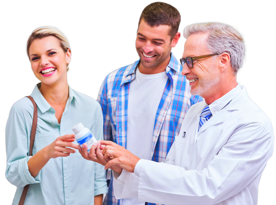man and woman with pharmacist talking about medicine